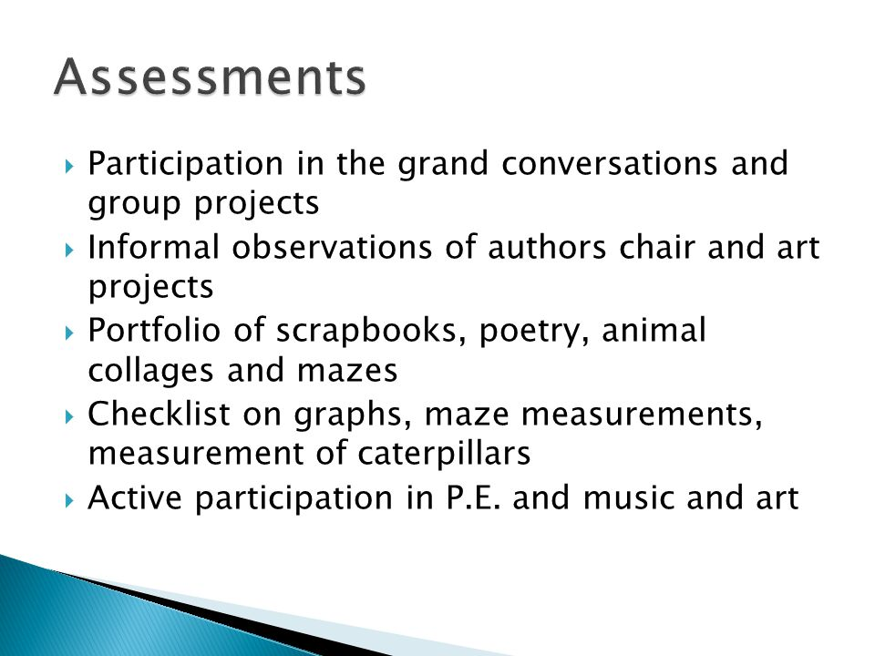 Assessments Participation in the grand conversations and group projects. Informal observations of authors chair and art projects.