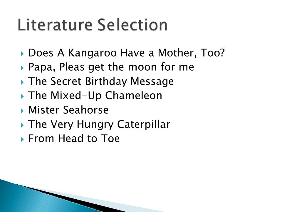 Literature Selection Does A Kangaroo Have a Mother, Too