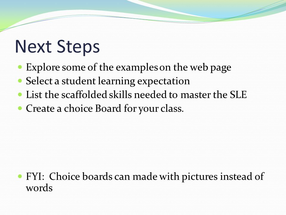 Next Steps Explore some of the examples on the web page