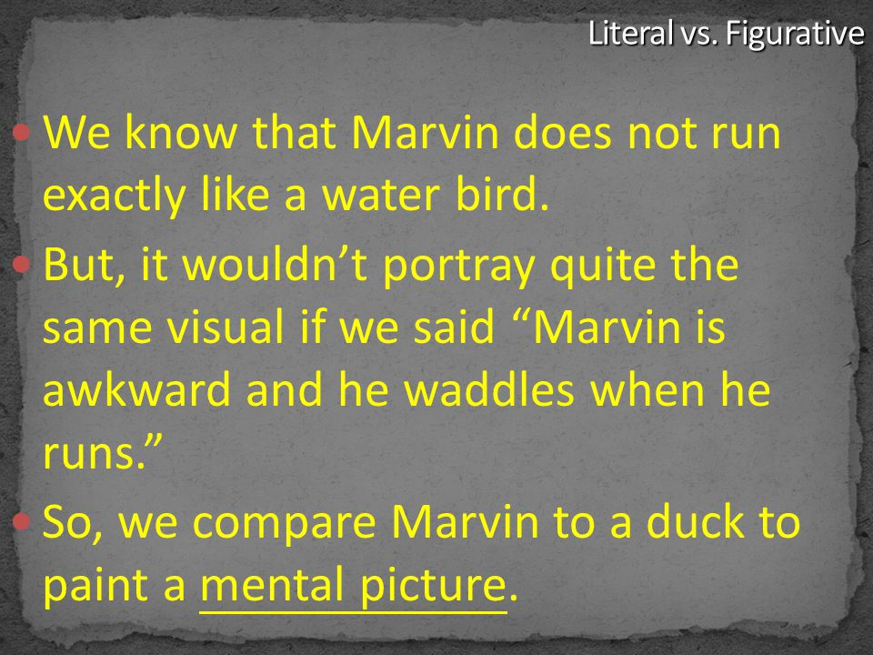 We know that Marvin does not run exactly like a water bird.