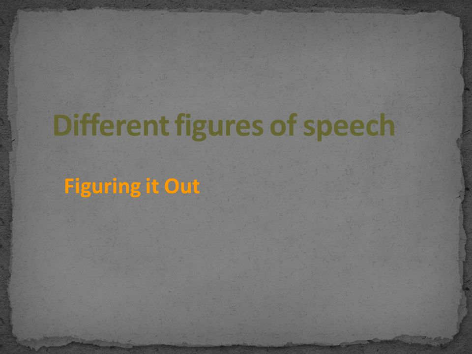 Different figures of speech
