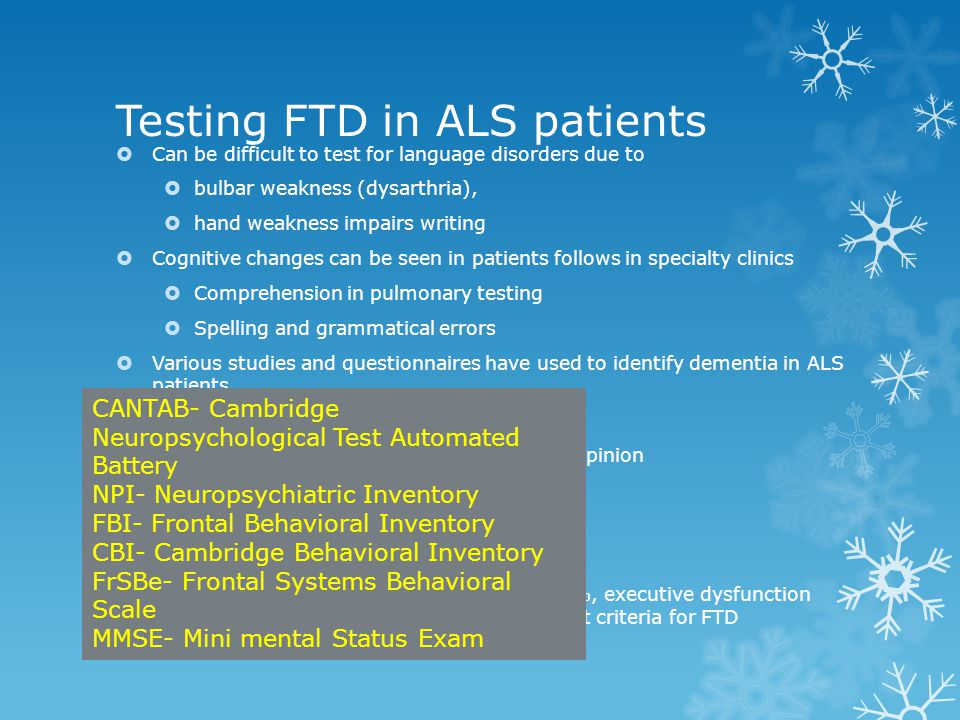 Testing FTD in ALS patients