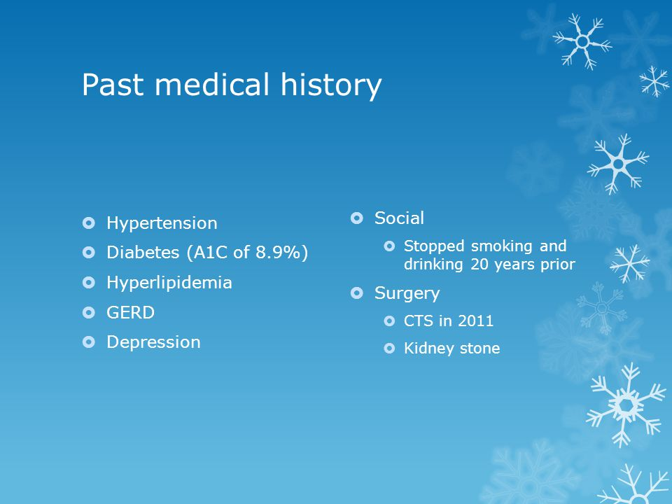 Past medical history Social Hypertension Diabetes (A1C of 8.9%)