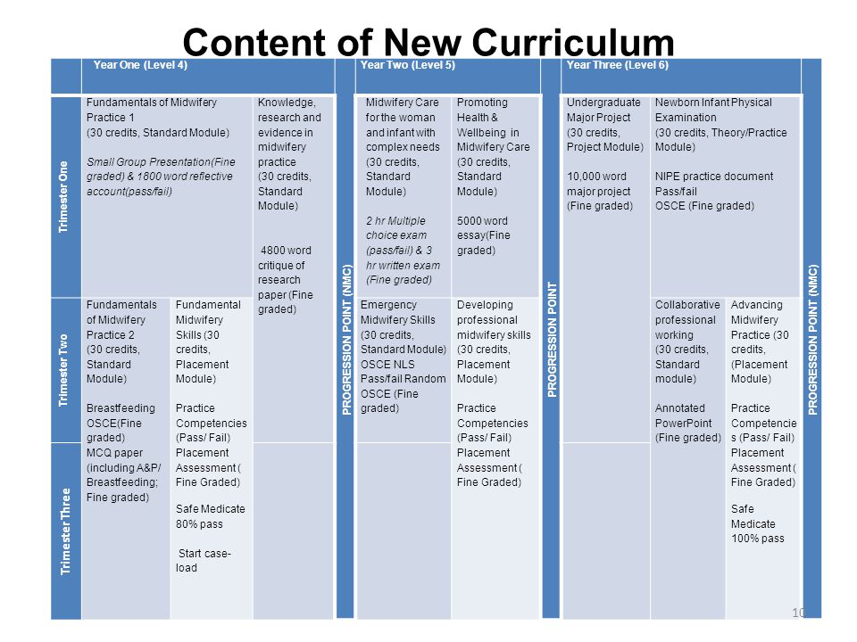 Content of New Curriculum