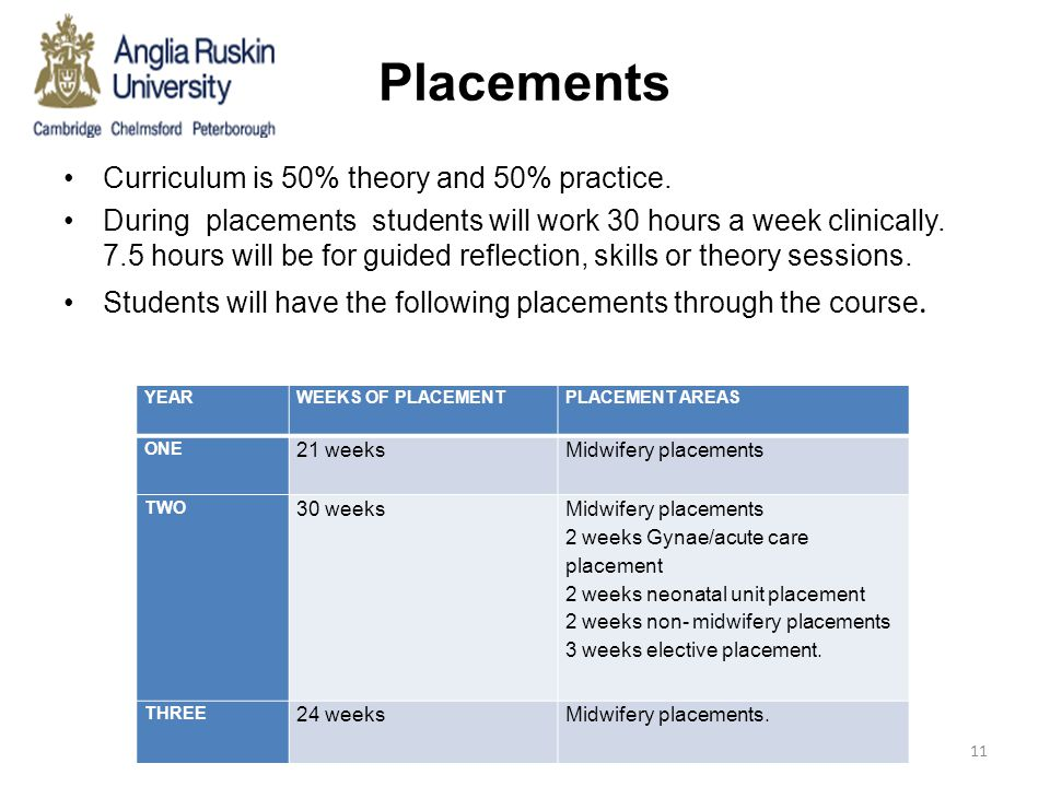 Placements Curriculum is 50% theory and 50% practice.