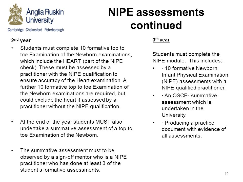 NIPE assessments continued