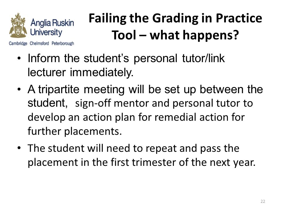 Failing the Grading in Practice Tool – what happens