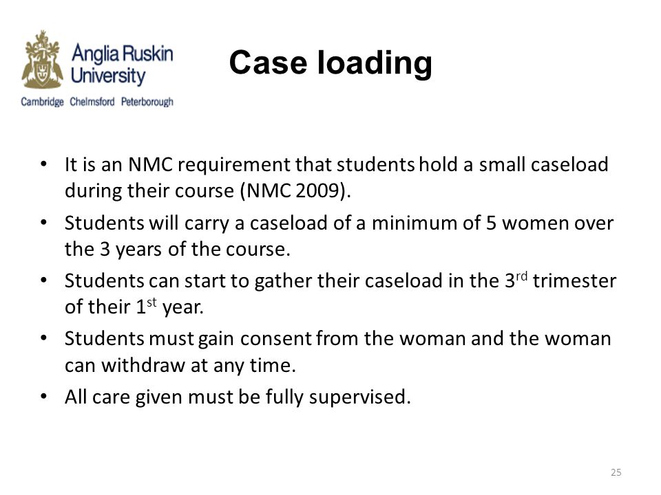 Case loading It is an NMC requirement that students hold a small caseload during their course (NMC 2009).