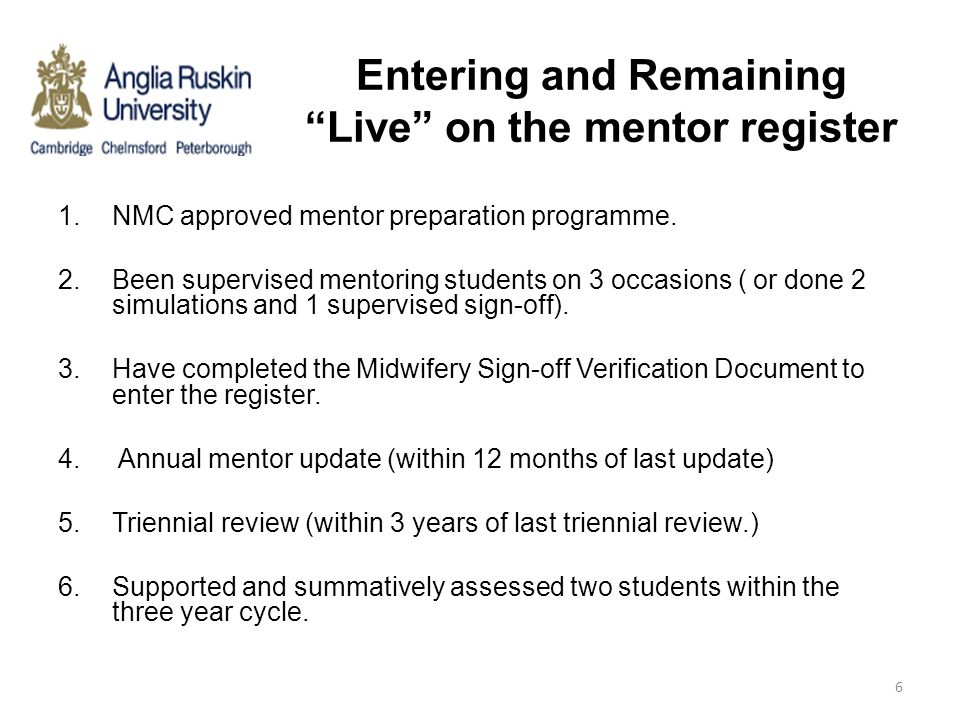 Entering and Remaining Live on the mentor register