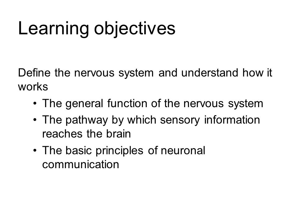 Learning objectives Define the nervous system and understand how it works. The general function of the nervous system.