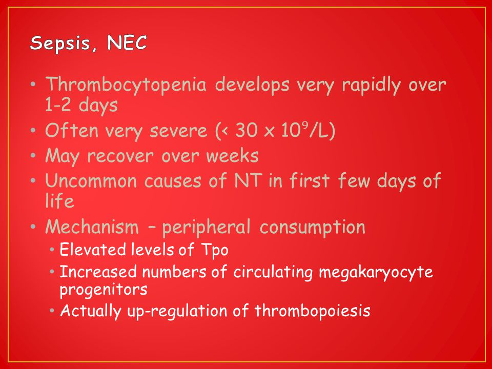 Thrombocytopenia develops very rapidly over 1-2 days