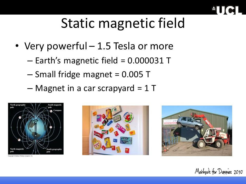 Static magnetic field Very powerful – 1.5 Tesla or more