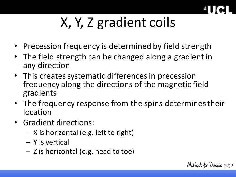 2010 X, Y, Z gradient coils. Precession frequency is determined by field strength.