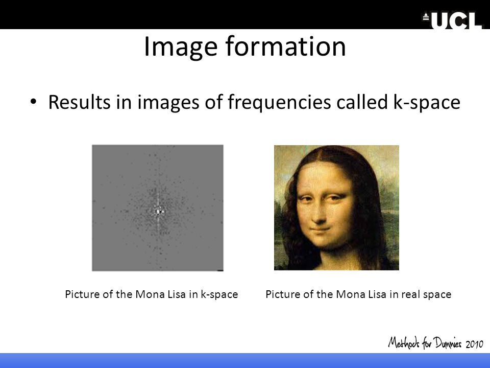 Image formation Results in images of frequencies called k-space