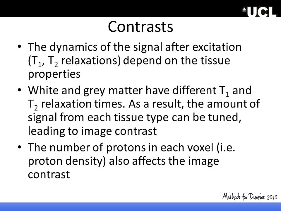 2010 Contrasts. The dynamics of the signal after excitation (T1, T2 relaxations) depend on the tissue properties.