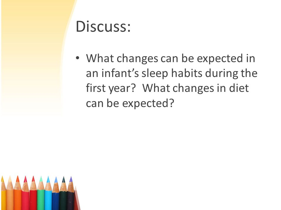 Discuss: What changes can be expected in an infant's sleep habits during the first year.