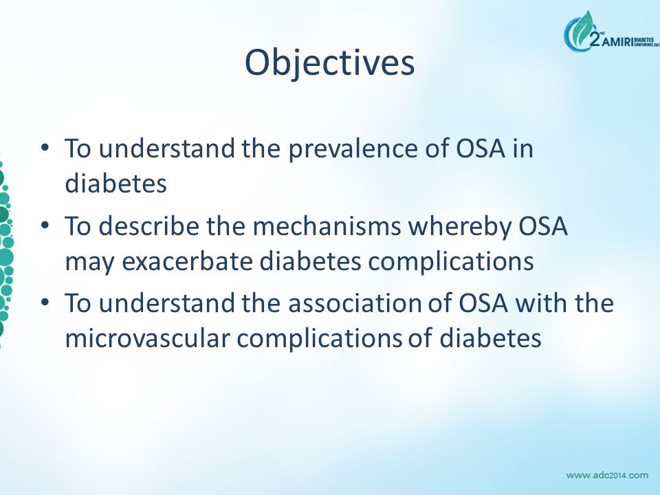 Objectives To understand the prevalence of OSA in diabetes