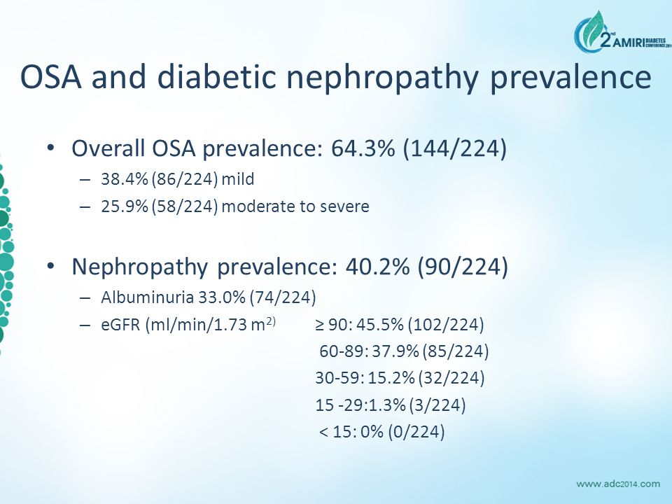 OSA and diabetic nephropathy prevalence