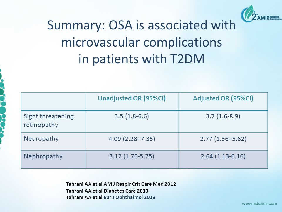 Summary: OSA is associated with microvascular complications in patients with T2DM