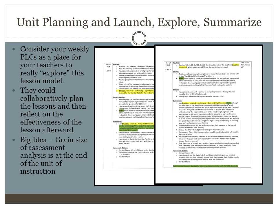 Unit Planning and Launch, Explore, Summarize