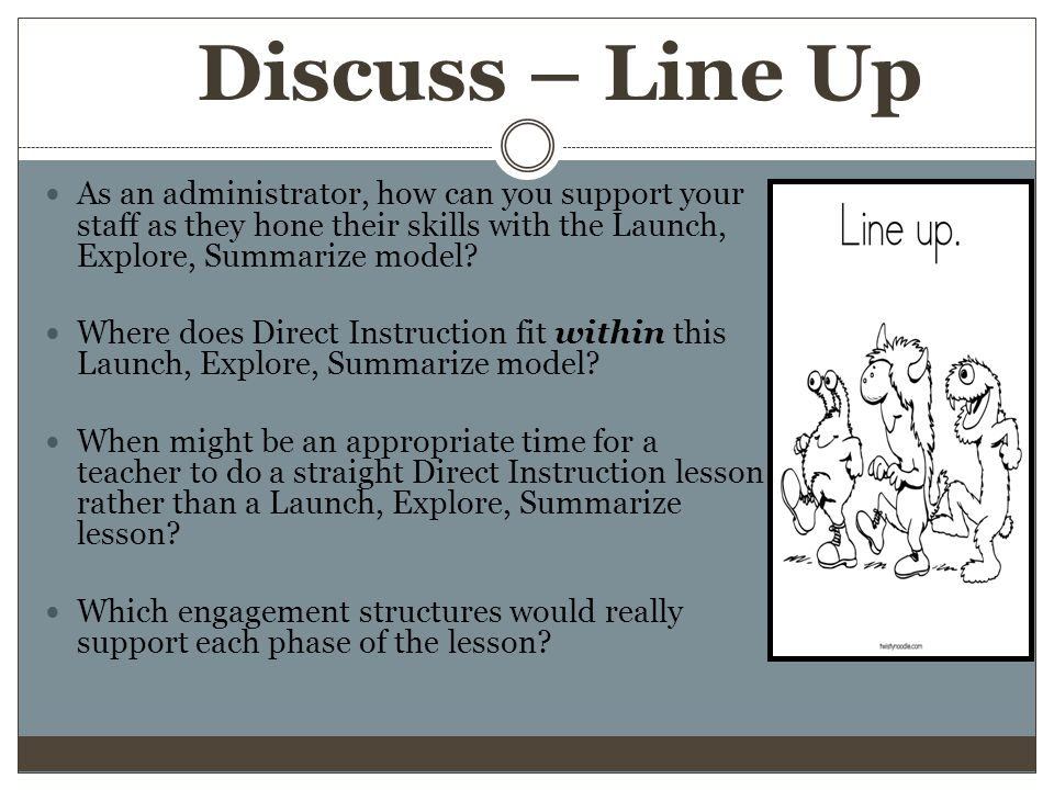 Discuss – Line Up As an administrator, how can you support your staff as they hone their skills with the Launch, Explore, Summarize model