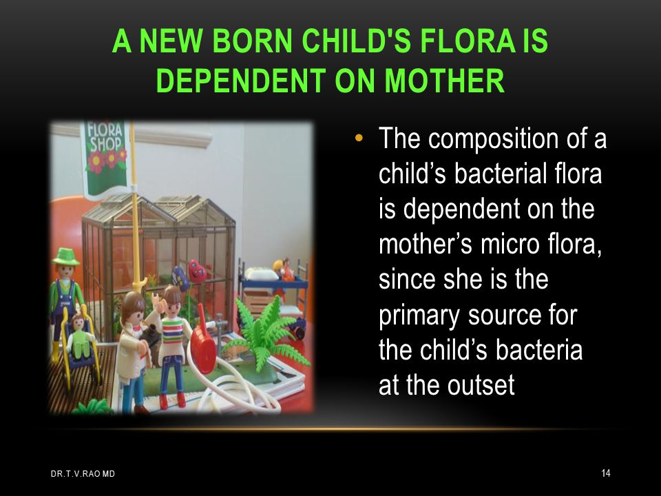 A new born child s flora is dependent on mother