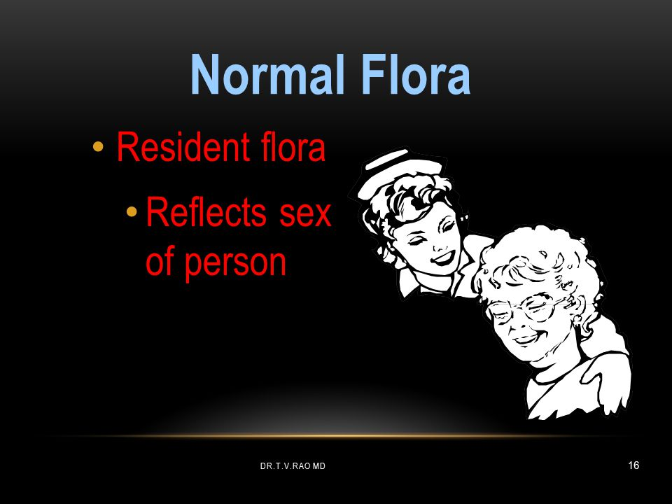Normal Flora Resident flora Reflects sex of person Dr.T.V.Rao MD