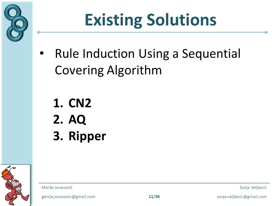 Existing Solutions Rule Induction Using a Sequential Covering Algorithm. CN2. AQ. Ripper. Marko Jovanović.