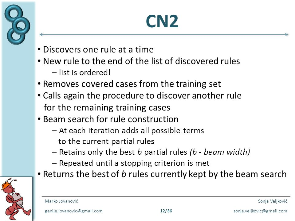 CN2 Discovers one rule at a time