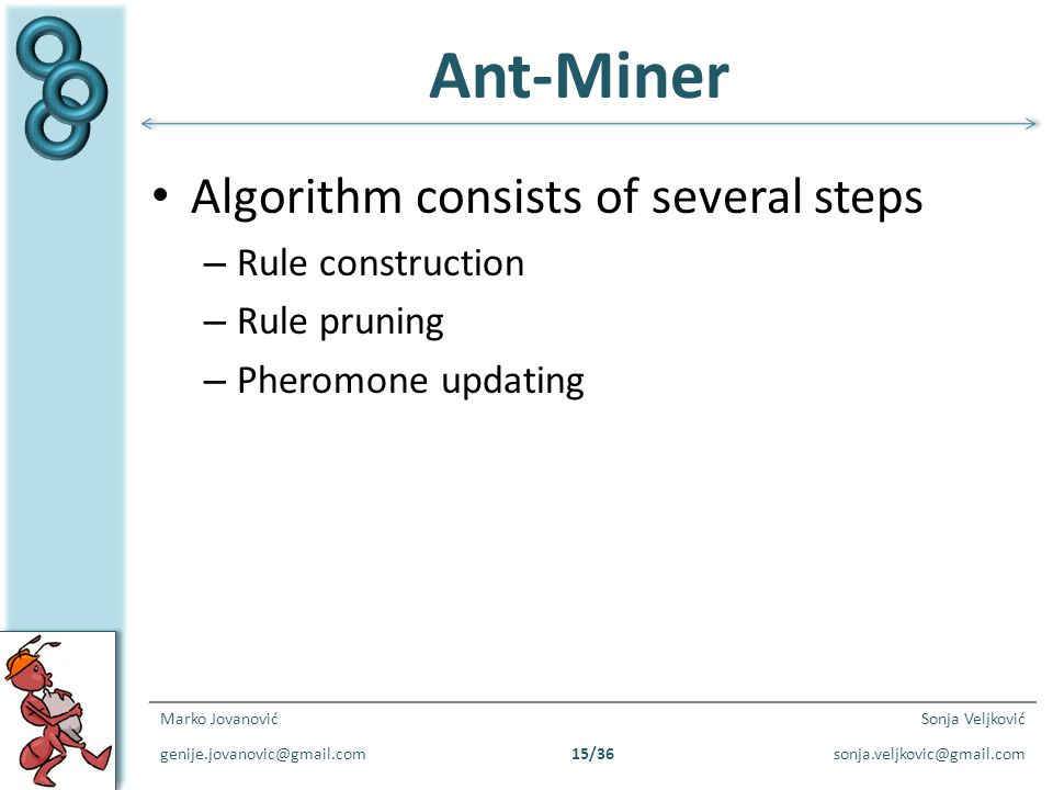 Ant-Miner Algorithm consists of several steps Rule construction