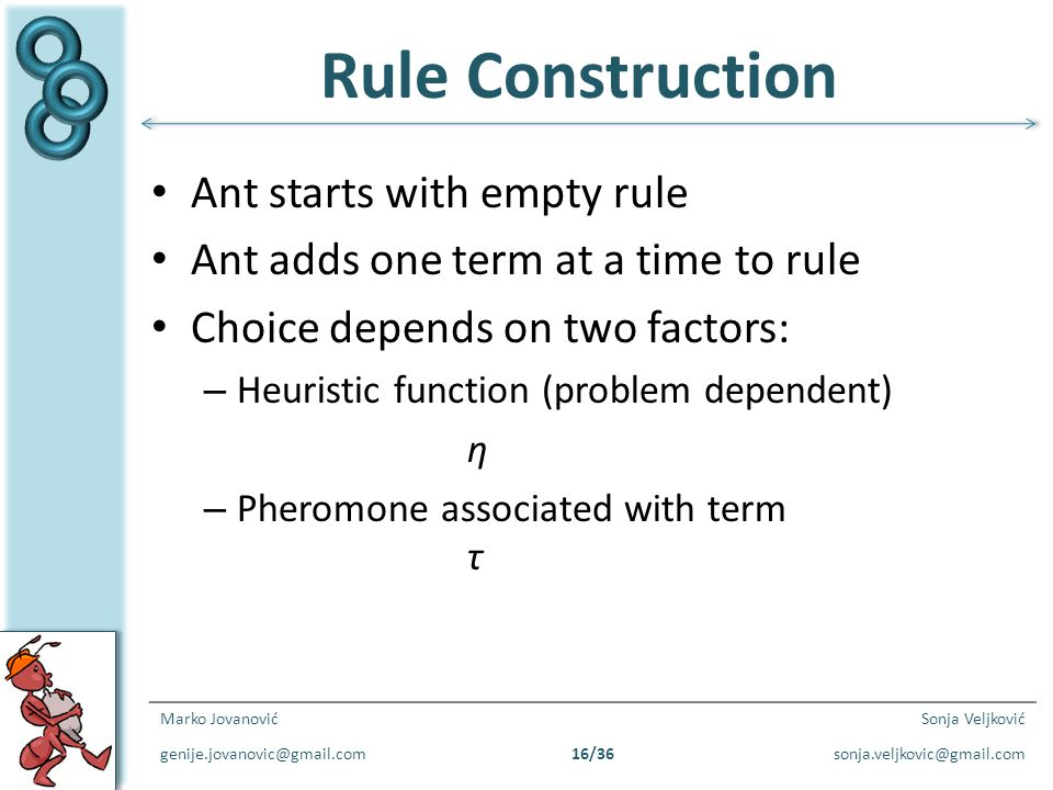 Rule Construction Ant starts with empty rule