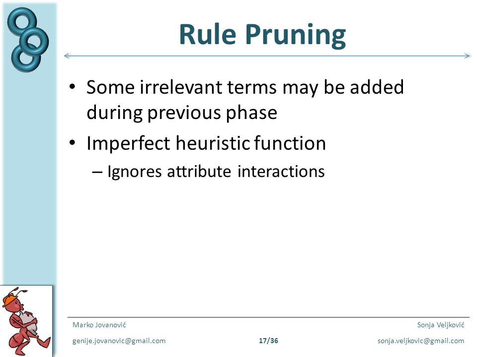 Rule Pruning Some irrelevant terms may be added during previous phase