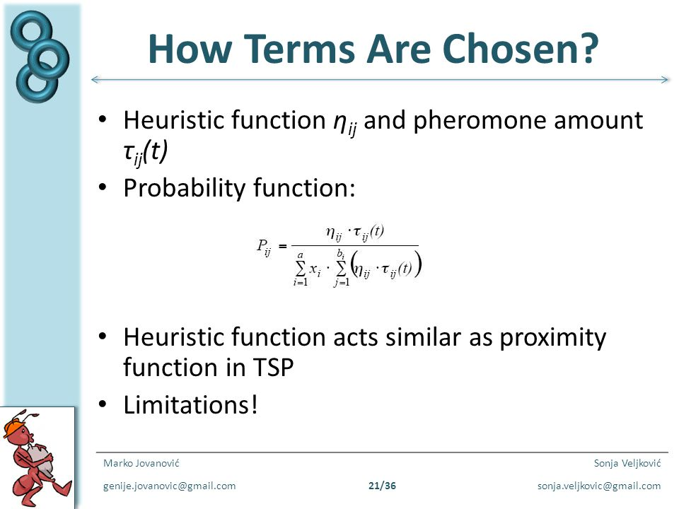 How Terms Are Chosen Heuristic function ηij and pheromone amount τij(t) Probability function: