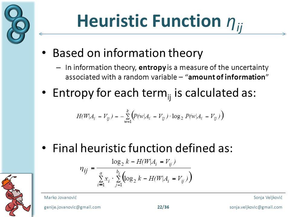 Heuristic Function ηij