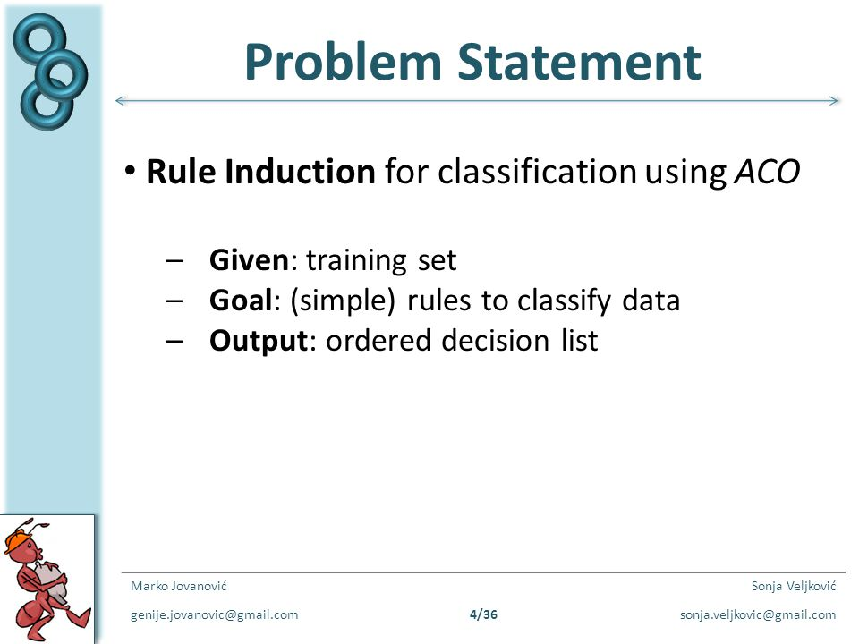 Problem Statement Rule Induction for classification using ACO