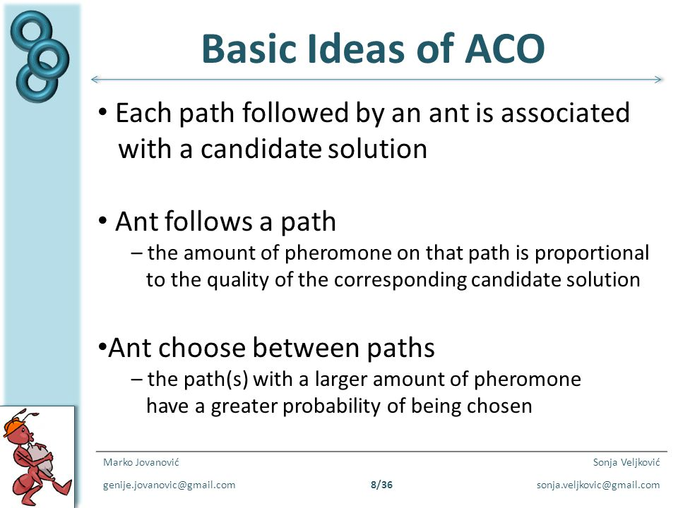 Basic Ideas of ACO Each path followed by an ant is associated
