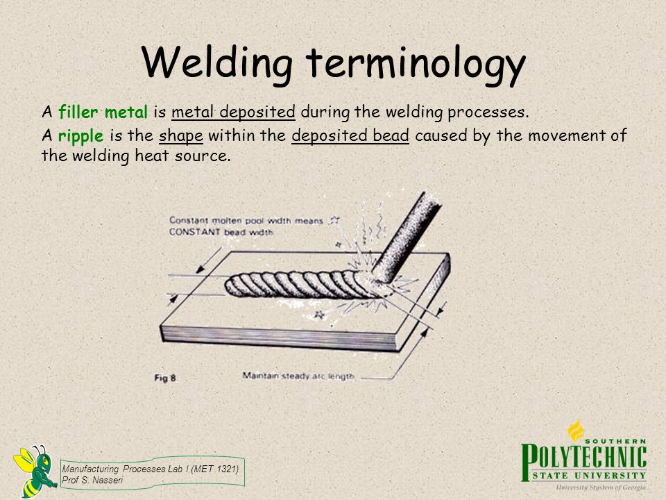 Welding terminology A filler metal is metal deposited during the welding processes.
