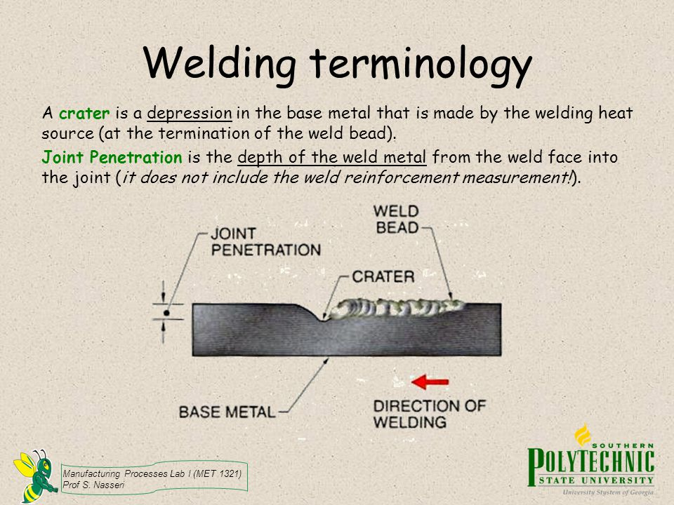 Welding terminology A crater is a depression in the base metal that is made by the welding heat source (at the termination of the weld bead).