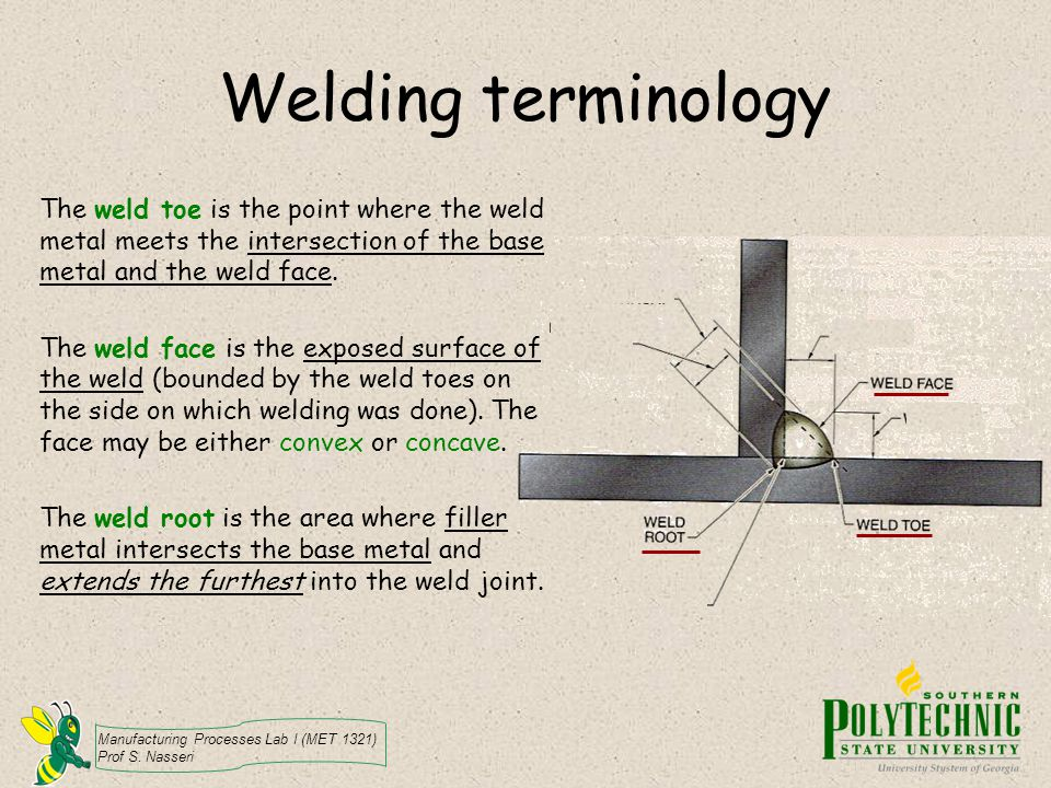 Welding terminology The weld toe is the point where the weld metal meets the intersection of the base metal and the weld face.