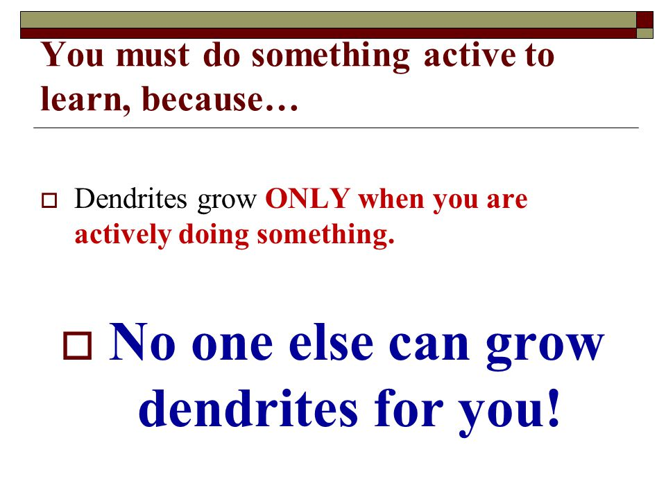 You must do something active to learn, because…