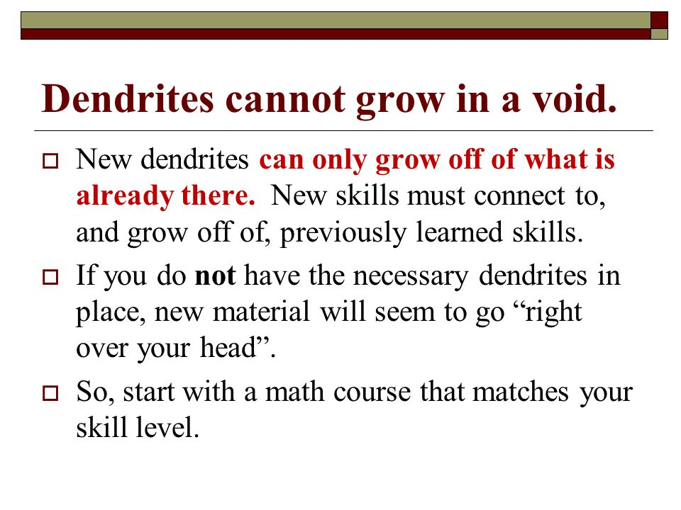 Dendrites cannot grow in a void.