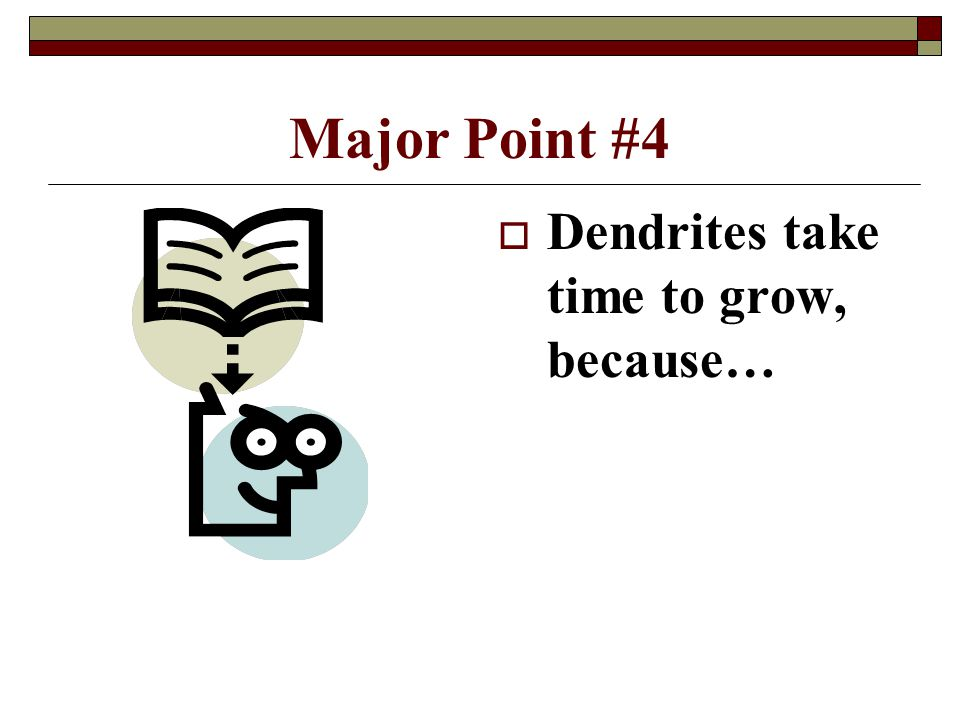 4/15/2017 Major Point #4 Dendrites take time to grow, because…