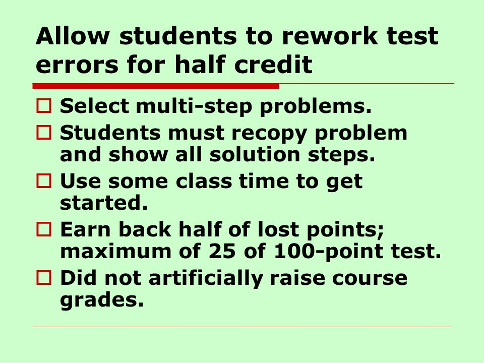 Allow students to rework test errors for half credit