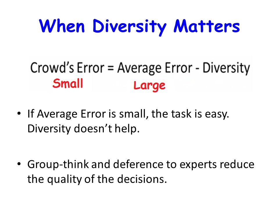 When Diversity Matters