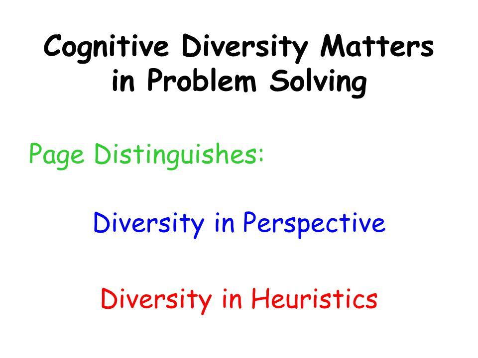 Cognitive Diversity Matters in Problem Solving