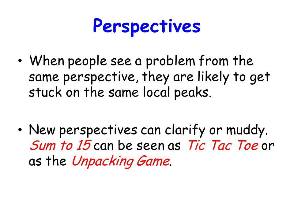 Perspectives When people see a problem from the same perspective, they are likely to get stuck on the same local peaks.