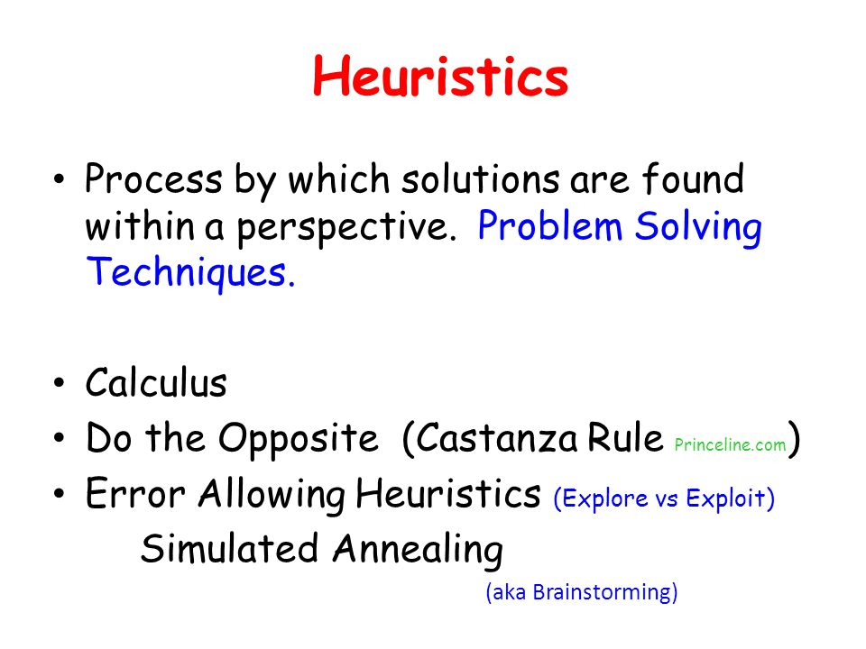 Heuristics Process by which solutions are found within a perspective. Problem Solving Techniques. Calculus.