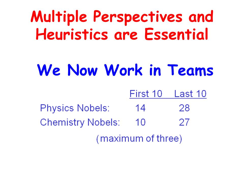 Multiple Perspectives and Heuristics are Essential We Now Work in Teams