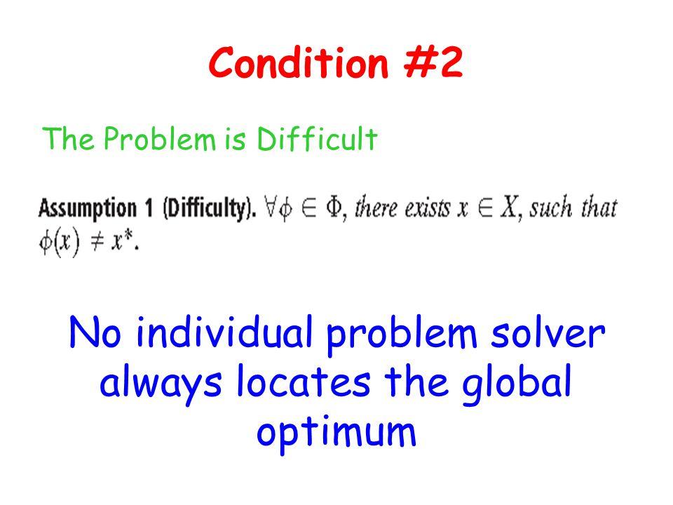 No individual problem solver always locates the global optimum