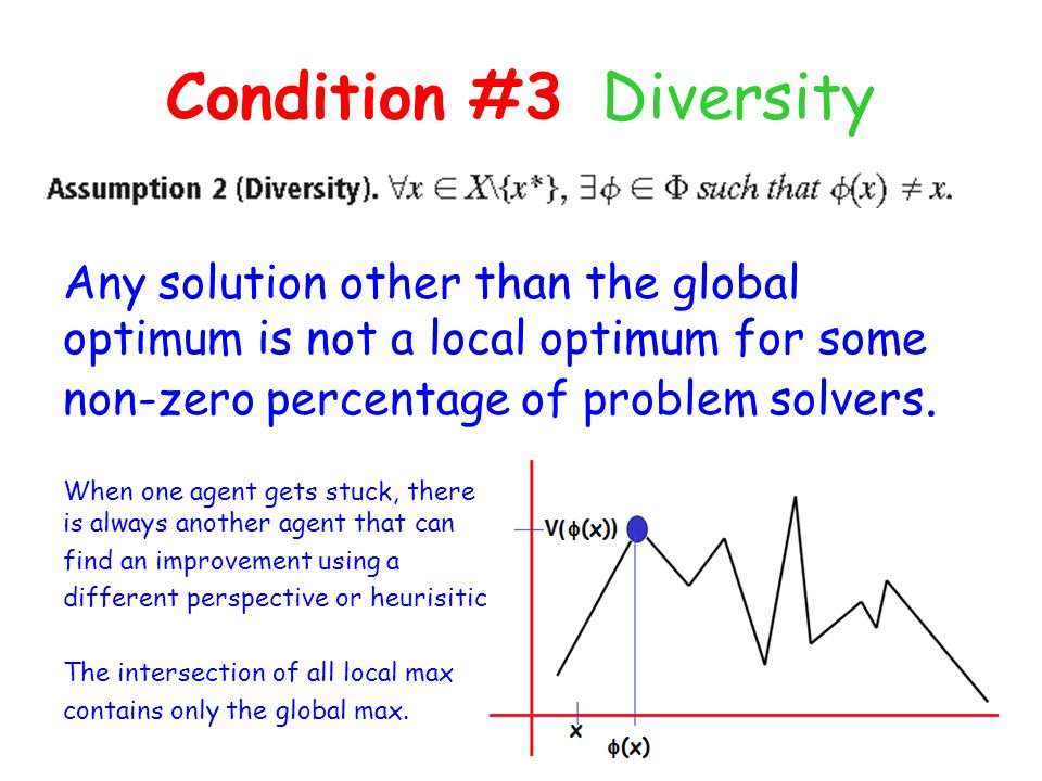Condition #3 Diversity Any solution other than the global optimum is not a local optimum for some non-zero percentage of problem solvers.